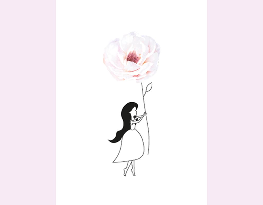 Studio 95 poster illustratie kinderkamer meisje met roos