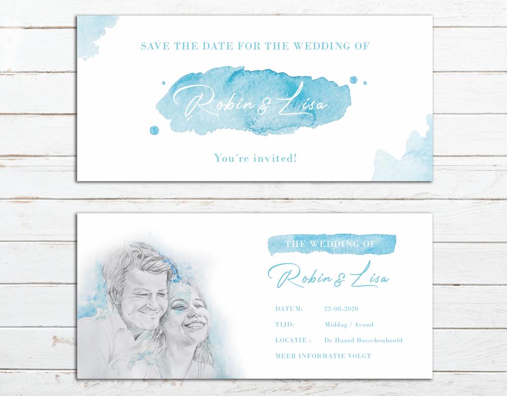 Studio 95 bruiloft trouwkaart robin en lisa